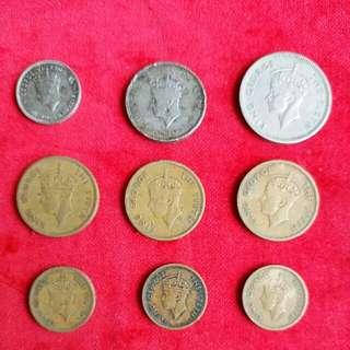 香港 男皇 佐治六世 硬幣 齊款 9個