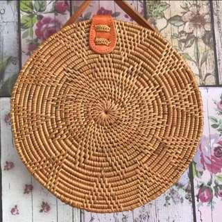 Tas bulat motif bunga klip kancing 20 cm