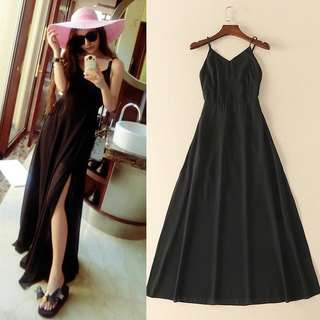 Black Big Yards Open Chiffon Dress👗