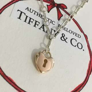 Excellent Authentic Tiffany & Co. Mini Heart Lock Rose Gold x Silver Bracelet 18k