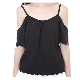 MDS Off Shoulder Top With Scallop Hem -Black