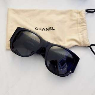 Vintage Chanel Sunglasses with Black Leather Quilted Temples