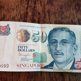 Singapore $50 Note with Serial ending 9999