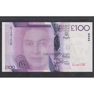 (BN 0120) 2011 Gibraltar 100 Pounds,1st Prefix A/AA - UNC