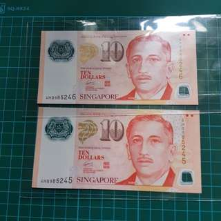 ⭐Celebrity⭐Singapore 🇸🇬 $10 2psc running number UNC 2 pcs $25