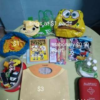 Stationary, weighting scale,flask,toys,tubberware