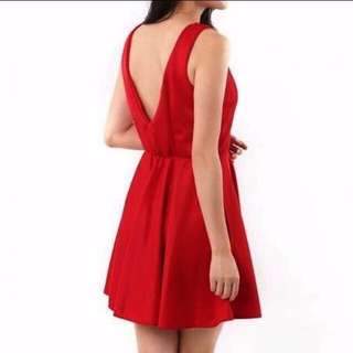 New Deep V Bare Back Mini Dress in Jewel Red