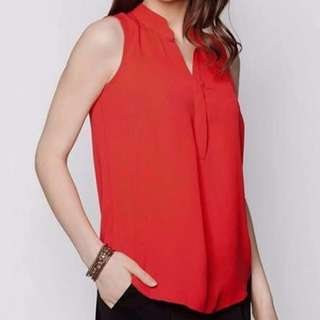 New Dorothy Perkins Petite High Collar Sleeveless Top in Red