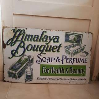 Enamel sign soap & perfume