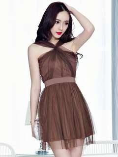 AO/DZC070866 - Sexy Fashion Off Shoulder Backless Gauze Fluffy Dress