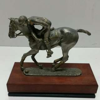 Vintage Royal selangor Pewter Sculpture 'Polo Player' signed R.Cameron