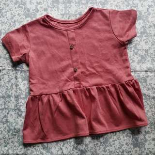 Baby / Kids OOTD Peplum Top Rose Pink
