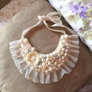 Cream Beaded Bib Necklace