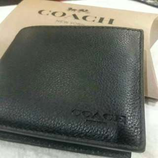 Coach for Men Black Leather Wallet