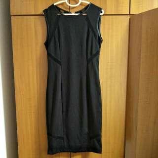 Zalora Black Sleeveless Dress with long zip