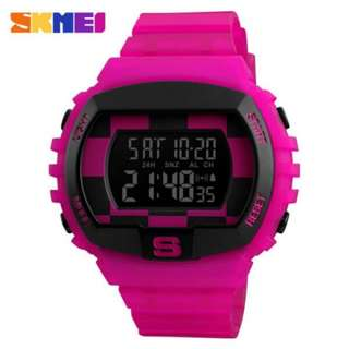 SKMEI 1304 ROSE PINK RUBBER STRAP WATCH FOR MEN - COD FREE SHIPPING