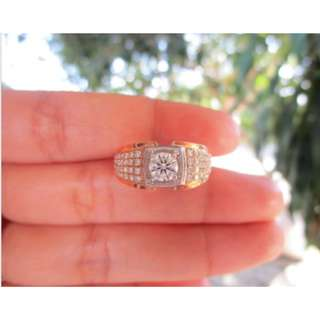 1.20 Carat Diamond Twotone Gold Ring 18k