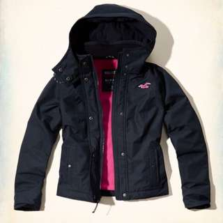 Hollister All Weather Jacket Women Navy HCO A&F