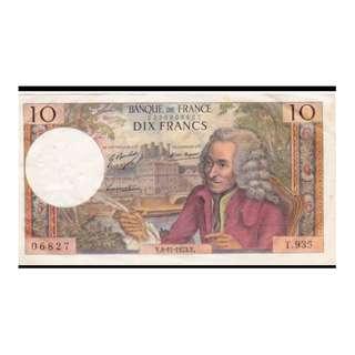 法國紙幣10法朗