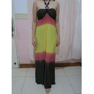 Maxi Dress Color Block All Size