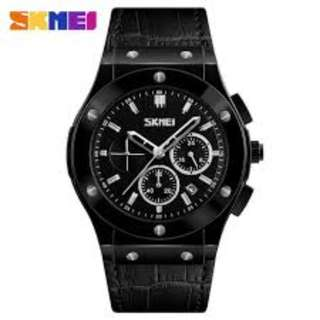 SKMEI 9157 ROSE BLACK LEATHER STRAP WATCH FOR MEN - COD FREE SHIPPING