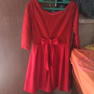 Dress merah brukat