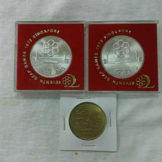Seventh seap games 1973 Singapore $5 coin x2 & 24 July1990 Singapore $5 coin
