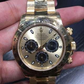Rolex Daytona系列 116508 金面 公價:HKD 256,000 18K黃金
