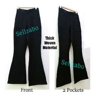 Bell Bottom Thick Winter Long Pants Free Size Black Sellzabo #S151 Warm Warmth Anti Cold Ladies Girls Women Female Lady