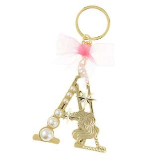 Japan Disneystore Disney Store Ariel the Little Mermaid Initial Pearl Keychain