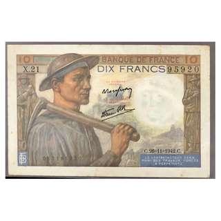 法國紙幣10 法朗