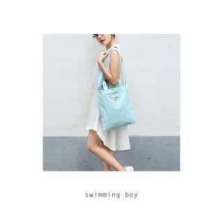 [Instock] Whimsical Swimming Boy Tote Bag By 八涂 (BaTu)