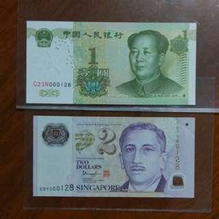 000128 Sg $2 China 1 Yuan pair