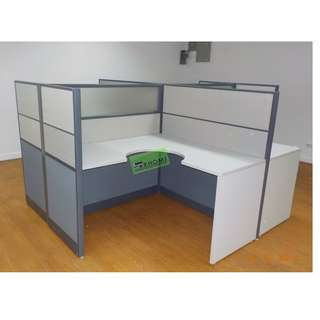 L TYPE WORKSTATION PARTITION (fabric W glass) MOBILE PED