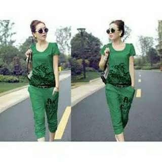 Kode : stelan baju wanita / setelan kaos cewek murah tiger hijau