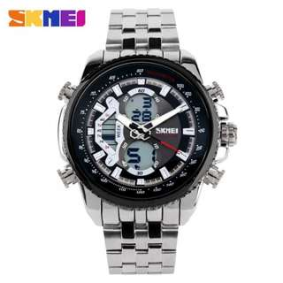 SKMEI AD0993 BLACK WITH STAINLESS STEEL STRAP WATCH FOR MEN - COD FREE SHIPPING