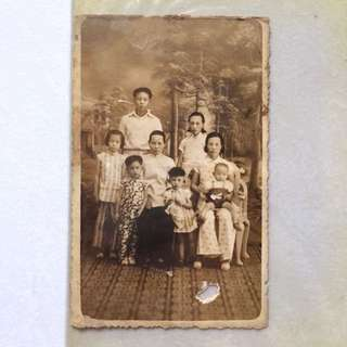 Old Vintage Photo - very old black & white Family Photo on Postcard (9 by 14 cm)