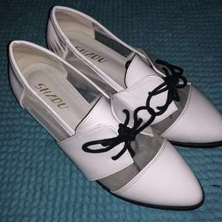 White Mesh Pleather Oxford Heels #HUAT50SALE