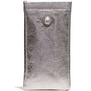 COACH Pewter Metallic Leather Sunglasses/Eyeglasses Pouch F61131