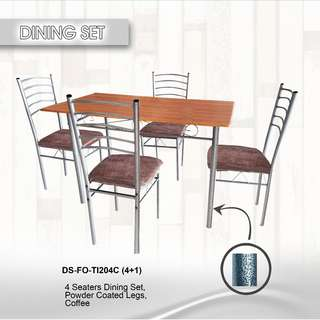 4 seater dining set, powder coated legs coffee (repriced)