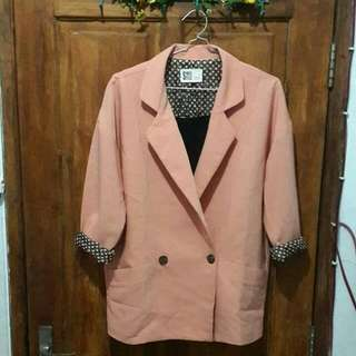 Blazer Pink Peach Outer Made In Korea