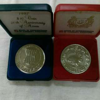 1987 20 th anniversary of asean $10 coin & 1987 🐇Singapore cupro-nickel proof like $10 coin