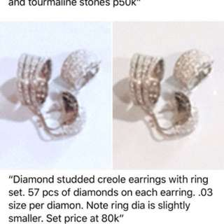 Earring and ring set with diamonds