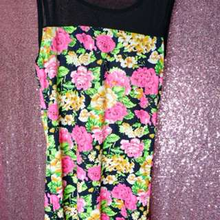 Dress flowery stretch