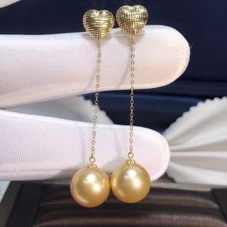 18K黃金 菲律賓金珠耳線