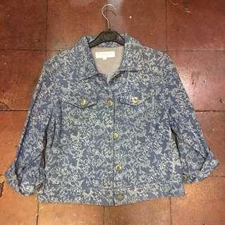 Mango floral denim jacket