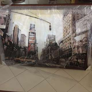 A painting of New York Times square