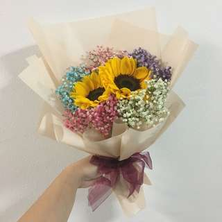 Sunflower with Rainbow Baby Breath