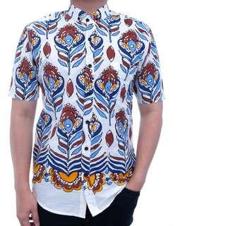 Supplier Kemeja Pria Cowok Casual Bahan Katun Lengan Pendek Motif Putih Corak Daun Warna