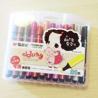 [只求快速賣出~] 全新 原價$68 M&G 晨光 可洗 水彩筆 24支 一盒